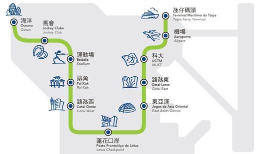 Macao LRT route map. (Photo Macao LRT website)