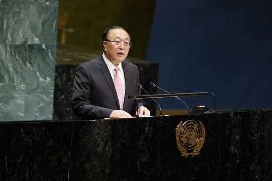 Zhang Jun, China's Permanent Representative to the UN, addresses a UN General Assembly debate on sports for development and peace at the United Nations headquarters in New York, on Dec. 9, 2019. (Xinhua/Li Muzi)