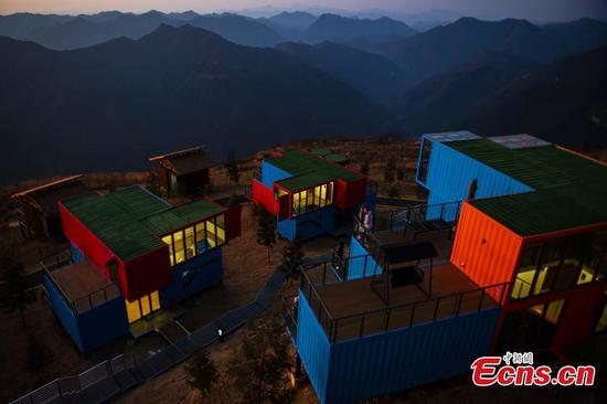 Container homestays built on mountaintop in Hubei