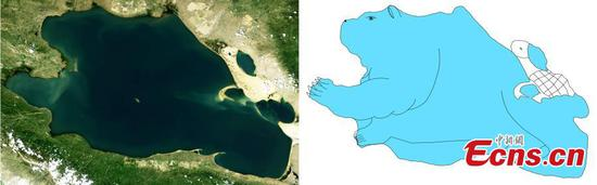 Satellite images of plateau lakes turned into cute cartoon paintings