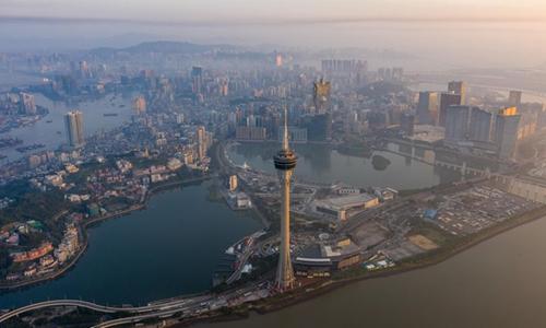 Aerial photo taken on Nov. 18, 2019 shows the Macao Tower, Sai Van Lake and Nam Van Lake in south China's Macao. (Xinhua/Cheong Kam Ka)