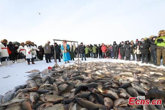 Ice fishing activities held at Nuogan Lake in Inner Mongolia
