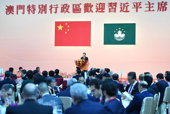 Chinese President Xi Jinping delivered a speech at a welcome banquet marking the 20th anniversary of Macao's return to China, Dec. 19, 2019. (Xinhua/Xie Huanchi)