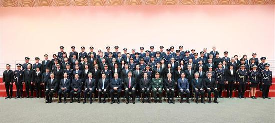 Chinese President Xi Jinping meets with representatives of disciplined forces of Macao Special Administrative Region (SAR), in south China's Macao, Dec. 19, 2019. (Xinhua/Pang Xinglei)