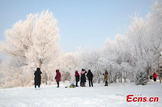 Rime scenery along Songhua River, Jilin province