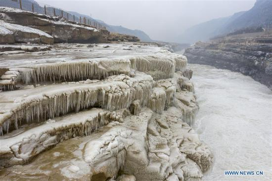 Spectacular winter scenery of Hukou Waterfall