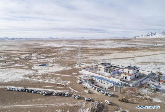 Aerial photo taken on Dec. 24, 2019 shows a 110 kV power transmission station in Tsonyi County, Nagqu City, southwest China's Tibet Autonomous Region.  (Xinhua/Sun Fei)