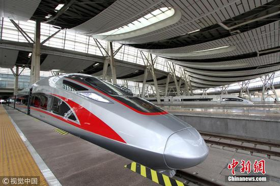 A Fuxing bullet train was ready to run on the Bejing-Shanghai High-Speed line, Jan. 5. 2019. (Photo/VCG)