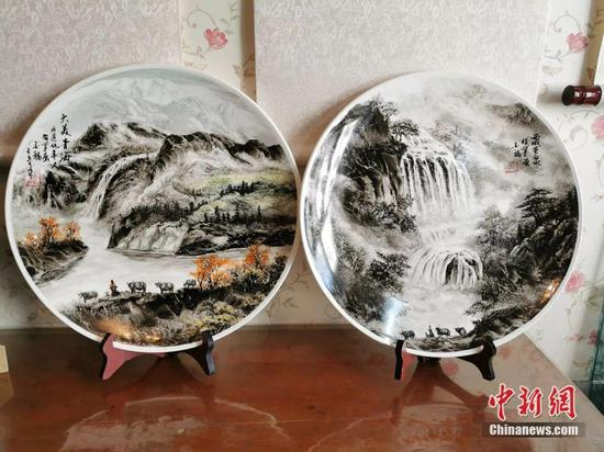 Ma Jinfu's ceramic paintings. (Photo provided to China News Service)