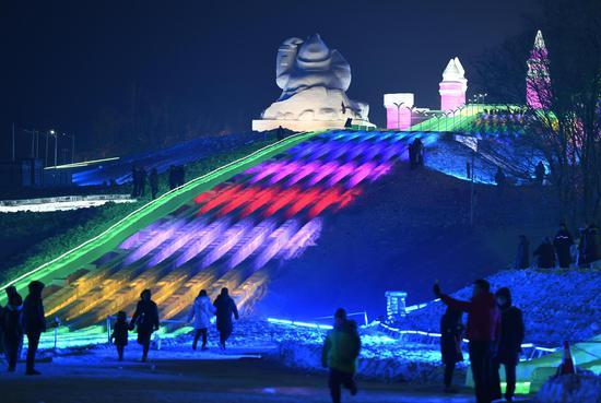 420-meter-long ice slide debuts in Changchun