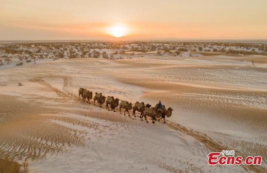 Snow creates stunning desert scene in Inner Mongolia