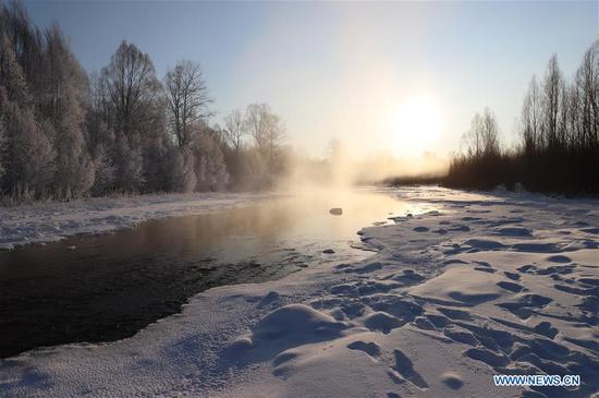 Scenery of 'China's coldest town' in NE China's Heilongjiang