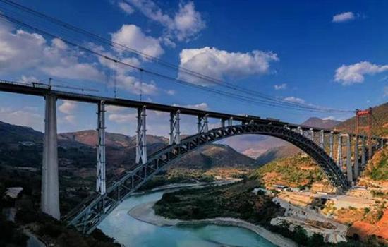 Longest spanning rail arch bridge cements main structure