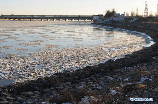 Ice flow on Bayan Nur reach of Yellow River in Inner Mongolia