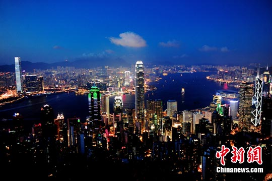 Night view of the Victoria Harbour in Hong Kong. (Photo/China News Service)