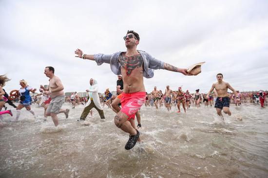 People participate in New Year's Dive in Belgium