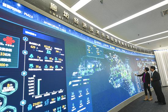 Two technicians analyze data at the smart city operational center in Langfang city, Hebei province. (Photo/Xinhua)
