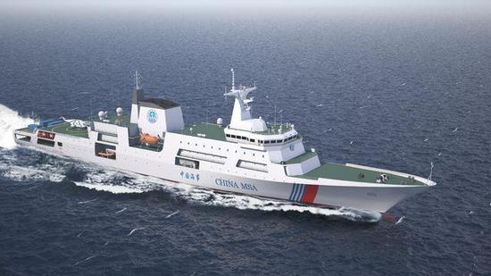 A designed pitcture of China's first 10,000-ton maritime patrol vessel. (Photo/ China Youth Daily)