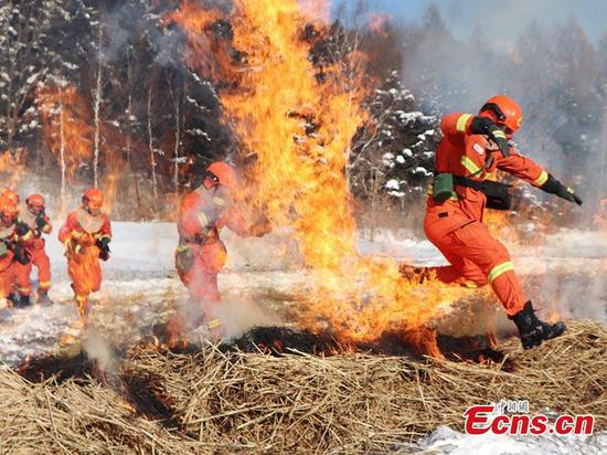 森林小组在中国东北部进行消防演习