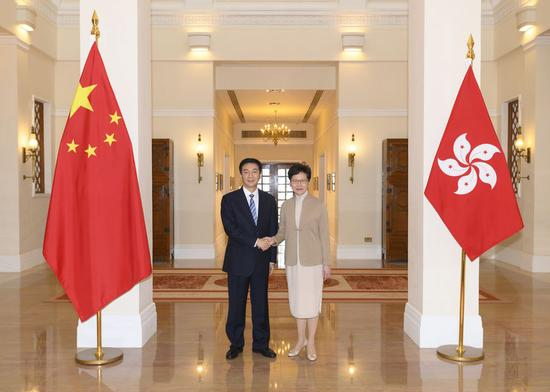 Chief Executive of China's Hong Kong Special Administrative Region (HKSAR) Carrie Lam meets with Luo Huining, the new director of the Liaison Office of the Central People's Government in the HKSAR in south China's Hong Kong, Jan. 9, 2020. (Xinhua)