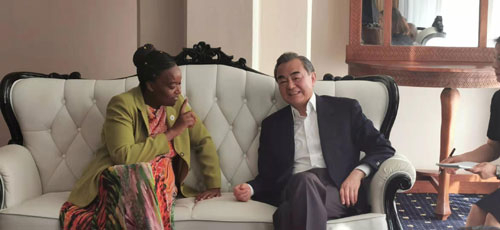 Chinese State Councilor and Foreign Minister Wang Yi (R) meets with his Kenyan counterpart Monica Juma in Mombasa, Kenya, January 10, 2020. (Photo via fmprc.gov.cn)