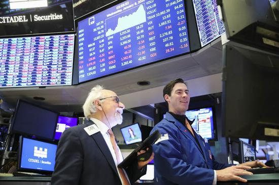 Traders work at the New York Stock Exchange in New York, the United States, on Jan. 8, 2020. (Xinhua/Wang Ying)