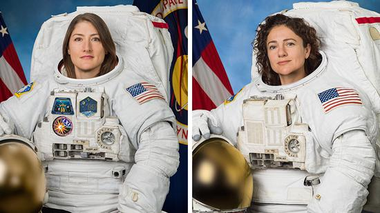 Two female U.S. astronauts, Christina Koch (left) and Jessica Meir, complete a spacewalk out of the International Space Station on Jan. 15, 2020. (Photo credit: NASA)