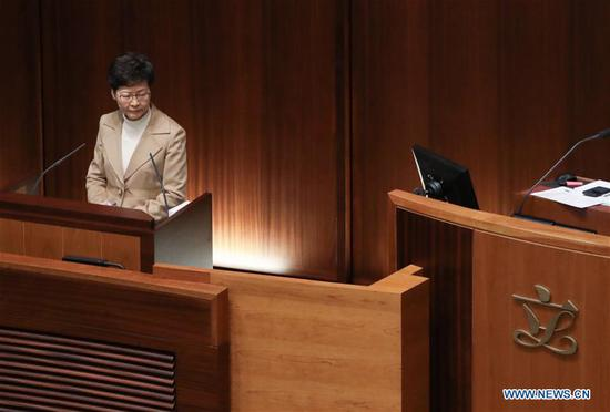 Chief Executive of China's Hong Kong Special Administrative Region (HKSAR) Carrie Lam attends a Chief Executive's Question and Answer Session at the Legislative Council in Hong Kong, south China, Jan. 16, 2020. (Xinhua/Lui Siu Wai)