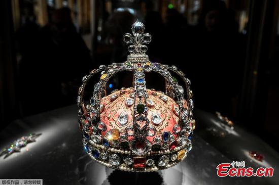 Crown of Louis XV of France displayed at Louvre museum