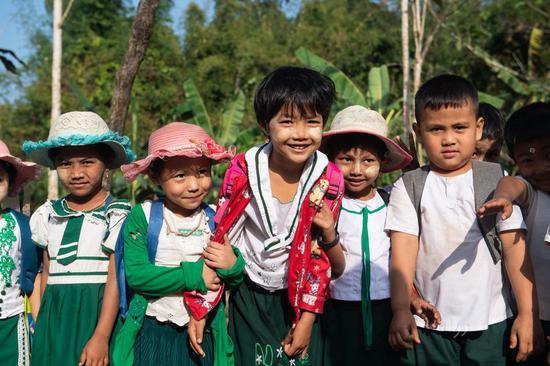 Photo taken on Jan. 13, 2020 shows students in Kyaukpyu, Rakhine State, Myanmar. (Xinhua/Du Yu)