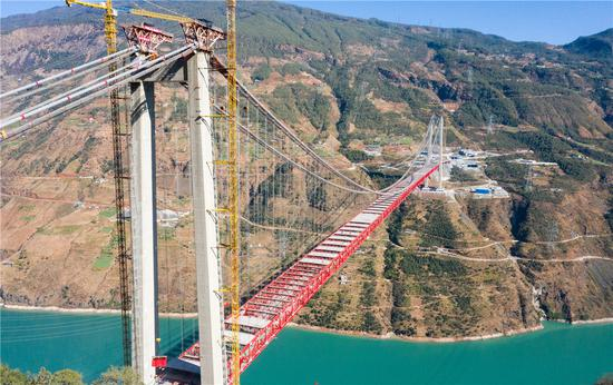 Construction completed on world's largest suspension bridge