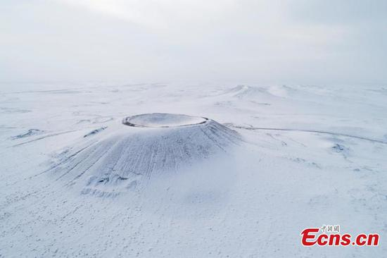 Snow-covered Ulan Hada volcano group