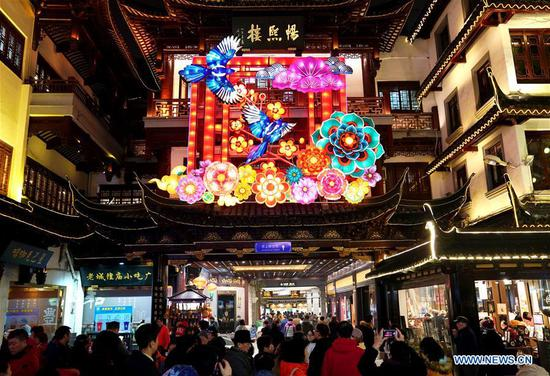 Lanterns illuminate Yuyuan Garden in Shanghai