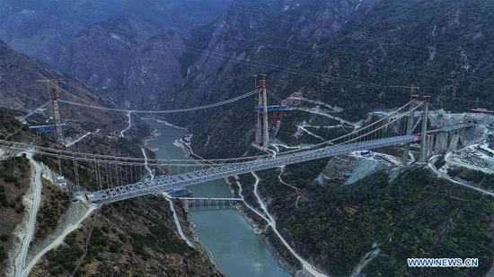 Mega bridge across one of the world's deepest river canyons under construction