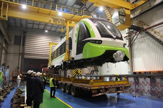 China's first commercial maglev 2.0 arrives at Changsha, Hunan Province. (File photo/CRRC Zhuzhou Locomotive Co.)