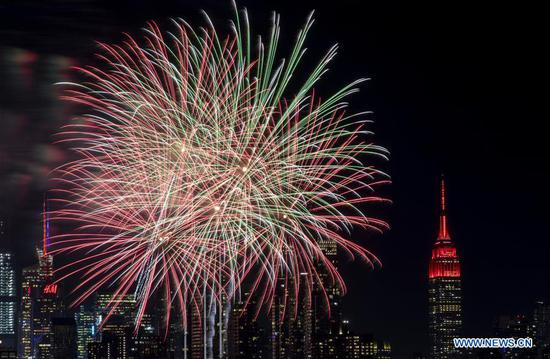 Fireworks seen above Hudson River in New York to celebrate Chinese Lunar New Year