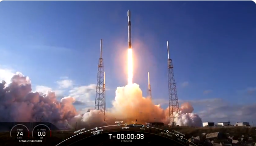 SpaceX rocket launches latest batch of internet satellites into space