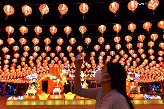 Chinese lanterns seen at temple in Bangkok