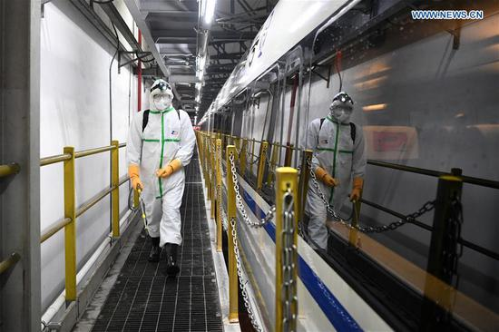 Disinfection operations of novel coronavirus conducted on trains in Chongqing