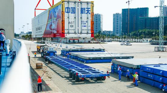 The first Long March 5B carrier rocket arrives at the Wenchang Space Launch Center in Hainan province on Wednesday for prelaunch preparations. (Photo provided to chinadaily.com.cn)