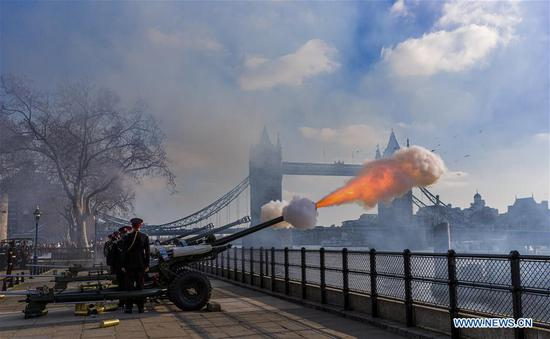 Gun salutes fired to mark 68th anniversary of Queen's accession in London