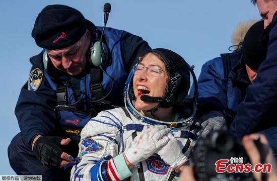 NASA astronaut Christina Koch returns to Earth after record-breaking mission