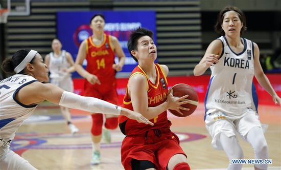 中国在奥运会预选赛中以第三场胜利超过韩国100-60