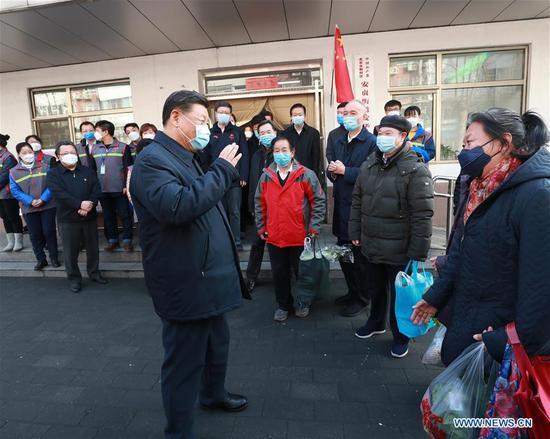 习近平在北京视察新型冠状病毒的预防,控制工作