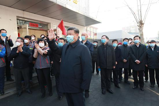 Chinese President Xi Jinping, also general secretary of the Communist Party of China (CPC) Central Committee and chairman of the Central Military Commission, inspects the novel coronavirus pneumonia prevention and control work in Beijing, capital of China, on Feb. 10, 2020. (Xinhua/Pang Xinglei)