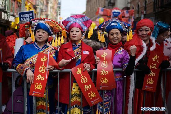 中国农历新年游行在曼哈顿唐人街举行