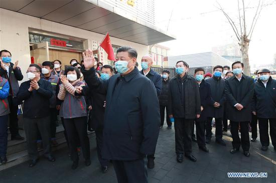 Chinese President Xi Jinping, also general secretary of the Communist Party of China (CPC) Central Committee and chairman of the Central Military Commission, inspects the novel coronavirus pneumonia prevention and control work in Beijing, capital of China, on Feb. 10, 2020. Xi visited Anhuali Community, Chaoyang District of Beijing to learn about the epidemic prevention and control at the primary level and the supply of daily necessities. (Xinhua/Pang Xinglei)