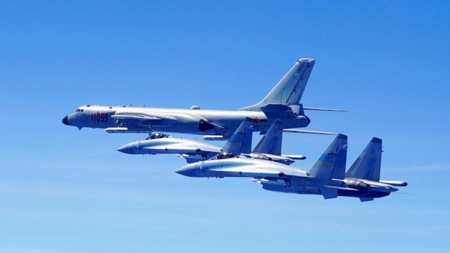 PLA conducts joint air force exercises near the southeast of Taiwan Island
