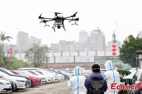 无人机用于深圳冠状病毒的预防