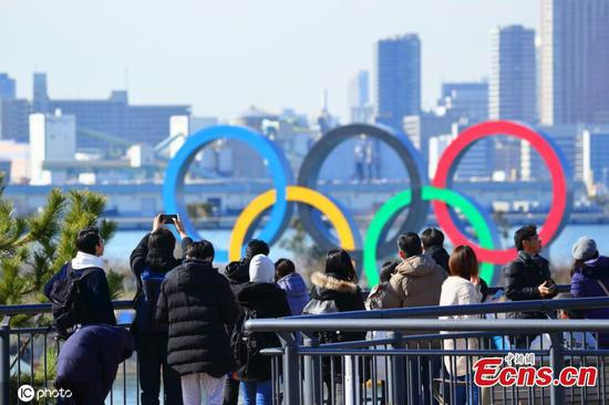 Olympic symbol installed at Odaiba Marine Park